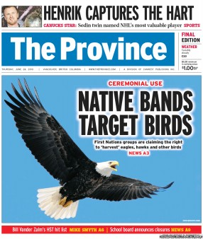 "front page of The Province newspaper showing article ""Native Bands Target Birds"""