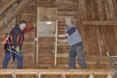 Chris and Richard Stabilizing the nest box.