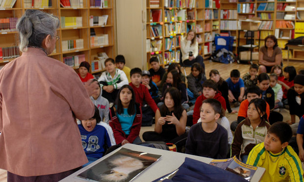 The Chehalis School children watch their Grand Chief with great interest and respect.   Dr Rose pointed out that this was the first talk she had given to this school in her own village.